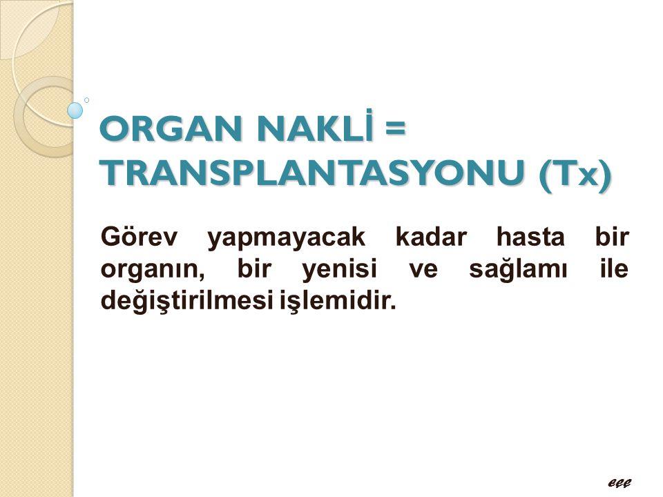 ORGAN NAKL İ = TRANSPLANTASYONU (Tx) Görev yapmayacak kadar hasta bir organın, bir yenisi ve sağlamı ile değiştirilmesi işlemidir. EÇÇ