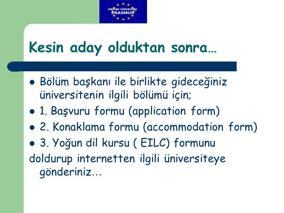 Kesin aday olduktan sonra…  Bölüm başkanı ile birlikte gideceğiniz üniversitenin ilgili bölümü için;  1. Başvuru formu (application form)  2. Konak