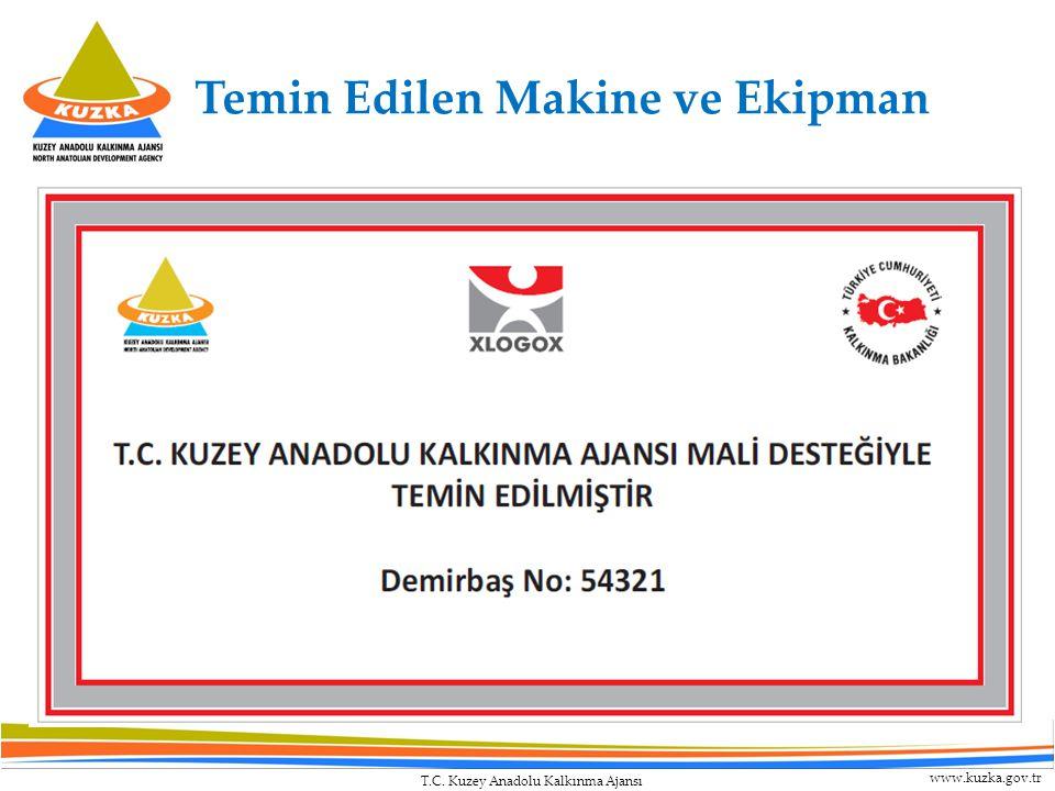 T.C. Kuzey Anadolu Kalkınma Ajansı www.kuzka.gov.tr Temin Edilen Makine ve Ekipman