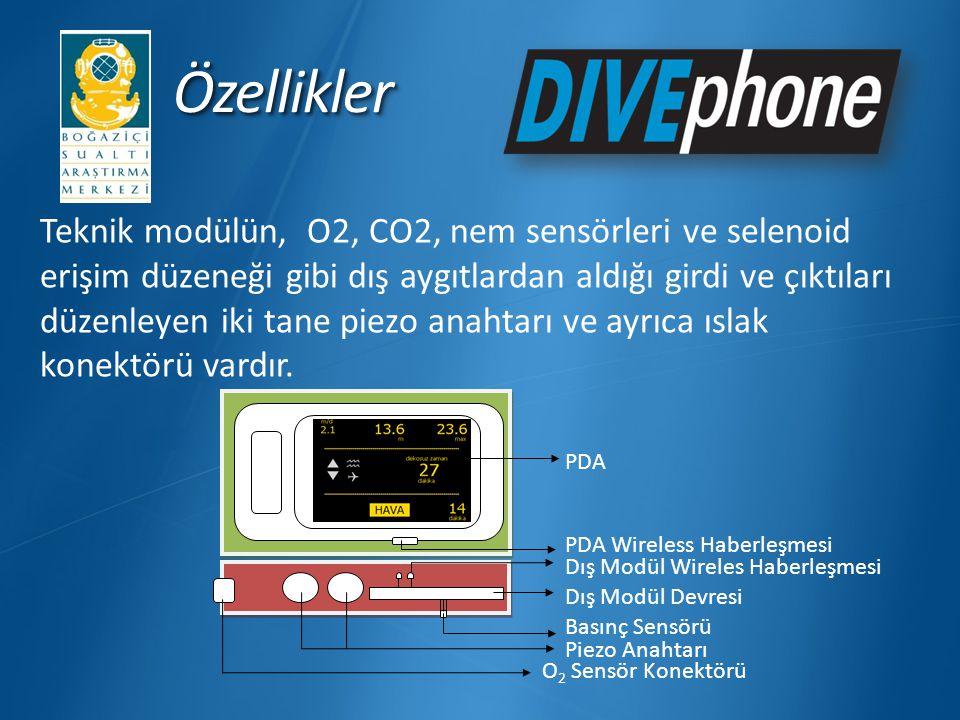 ÖzelliklerÖzellikler Teknik modülün, O2, CO2, nem sensörleri ve selenoid erişim düzeneği gibi dış aygıtlardan aldığı girdi ve çıktıları düzenleyen iki