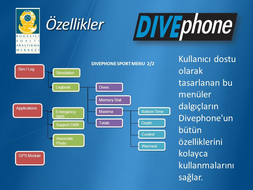 ÖzelliklerÖzellikler Kullanıcı dostu olarak tasarlanan bu menüler dalgıçların Divephone'un bütün özelliklerini kolayca kullanmalarını sağlar. Sim / Lo