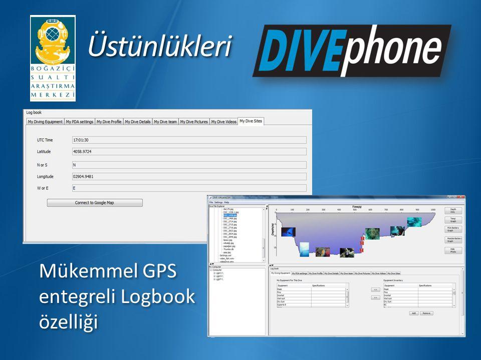 ÜstünlükleriÜstünlükleri Unique GPS integrated logbook feature Mükemmel GPS entegreli Logbook özelliği