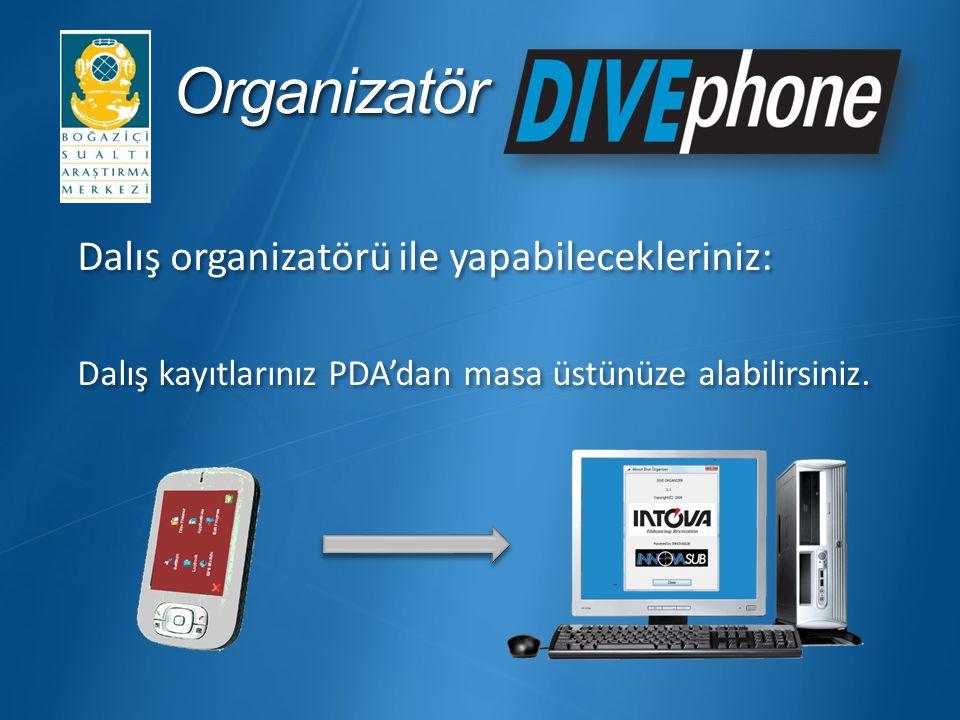 OrganizatörOrganizatör Dalış organizatörü ile yapabilecekleriniz: Dalış kayıtlarınız PDA'dan masa üstünüze alabilirsiniz.