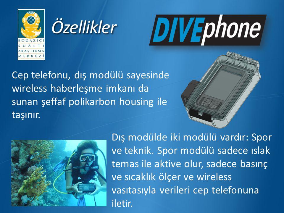 ÖzelliklerÖzellikler Cep telefonu, dış modülü sayesinde wireless haberleşme imkanı da sunan şeffaf polikarbon housing ile taşınır. Dış modülde iki mod