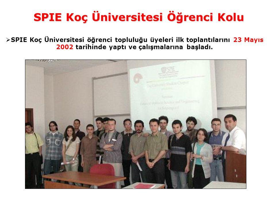SPIE Koç Üniversitesi Öğrenci Kolu  SPIE Koç Üniversitesi öğrenci topluluğu üyeleri ilk toplantılarını 23 Mayıs 2002 tarihinde yaptı ve çalışmalarına başladı.