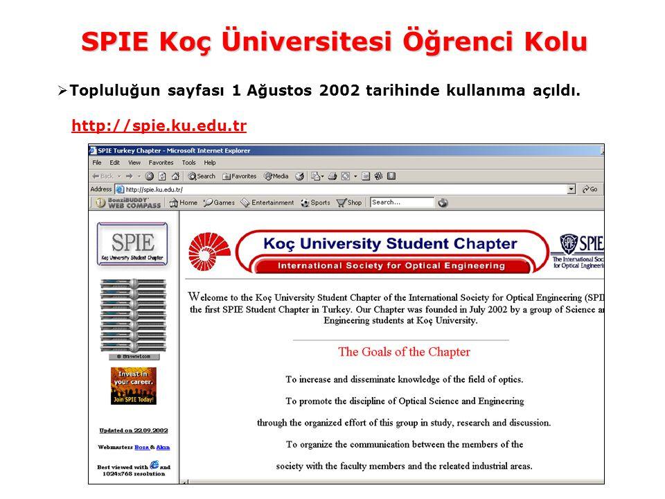 SPIE Koç Üniversitesi Öğrenci Kolu  Topluluğun sayfası 1 Ağustos 2002 tarihinde kullanıma açıldı.
