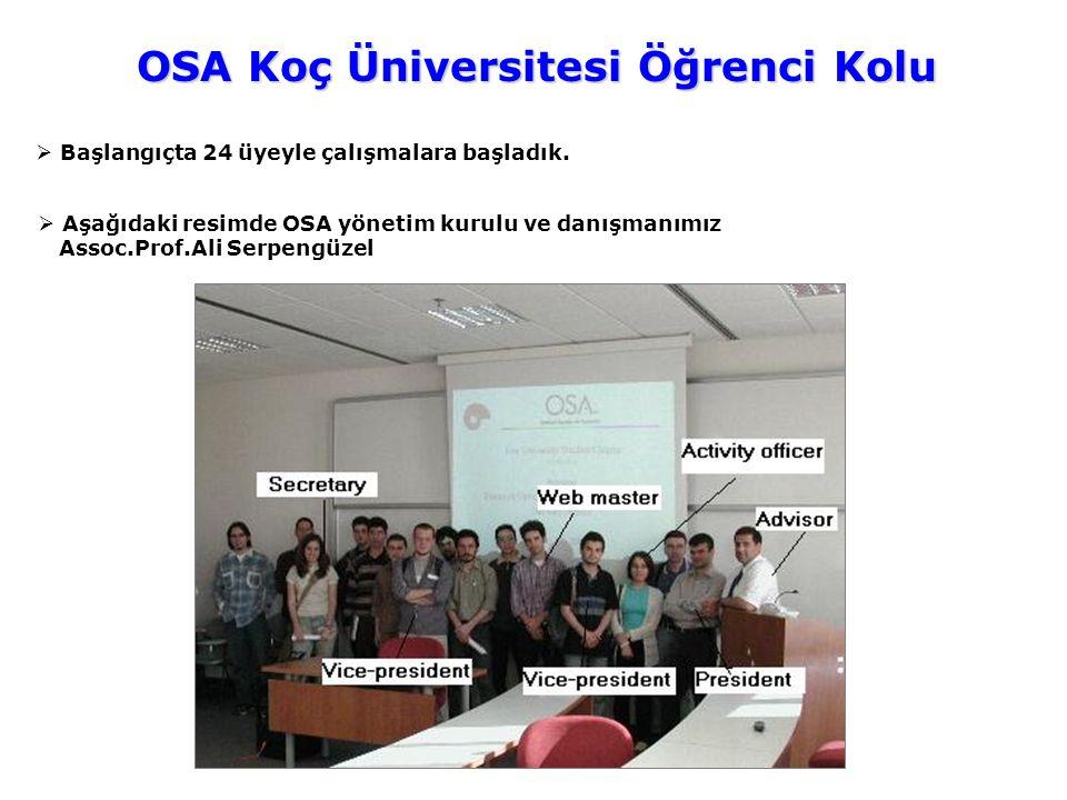  Başlangıçta 24 üyeyle çalışmalara başladık. OSA Koç Üniversitesi Öğrenci Kolu  Aşağıdaki resimde OSA yönetim kurulu ve danışmanımız Assoc.Prof.Ali