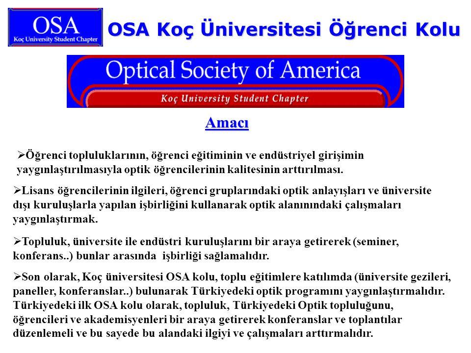 OSA Koç Üniversitesi Öğrenci Kolu Amacı  Öğrenci topluluklarının, öğrenci eğitiminin ve endüstriyel girişimin yaygınlaştırılmasıyla optik öğrencileri