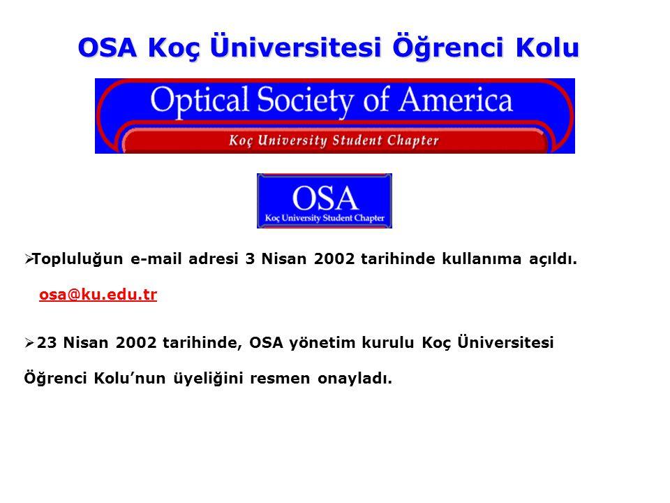 OSA Koç Üniversitesi Öğrenci Kolu  Topluluğun e-mail adresi 3 Nisan 2002 tarihinde kullanıma açıldı. osa@ku.edu.tr  23 Nisan 2002 tarihinde, OSA yön