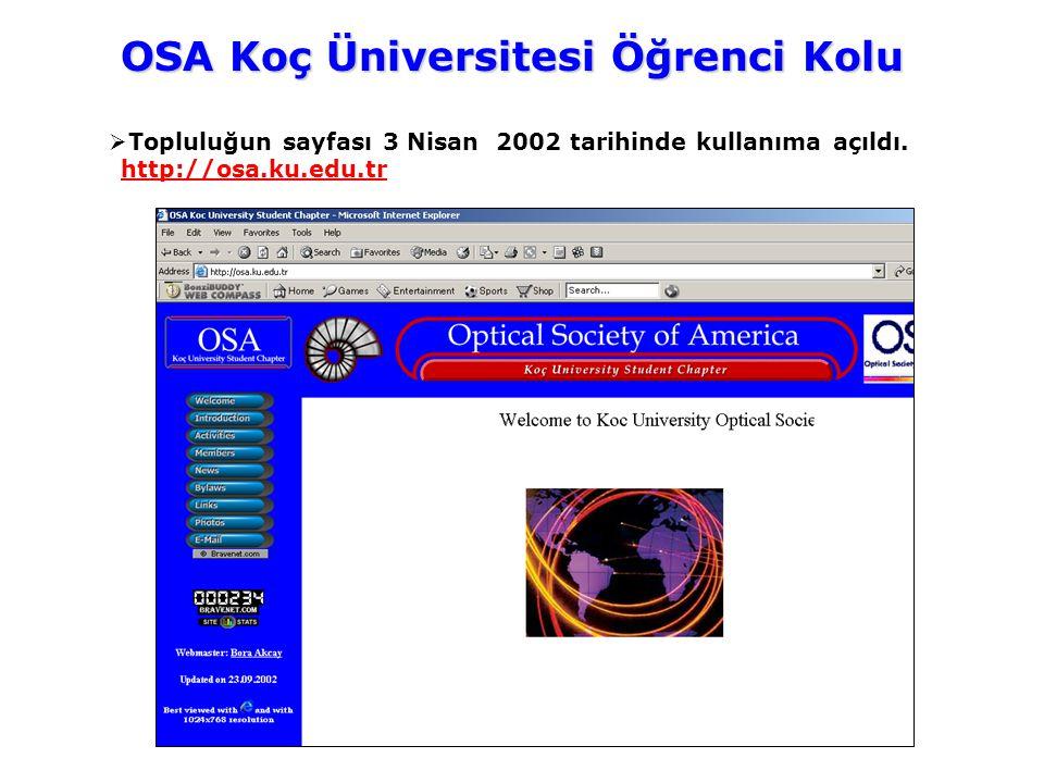  Topluluğun sayfası 3 Nisan 2002 tarihinde kullanıma açıldı. http://osa.ku.edu.tr OSA Koç Üniversitesi Öğrenci Kolu