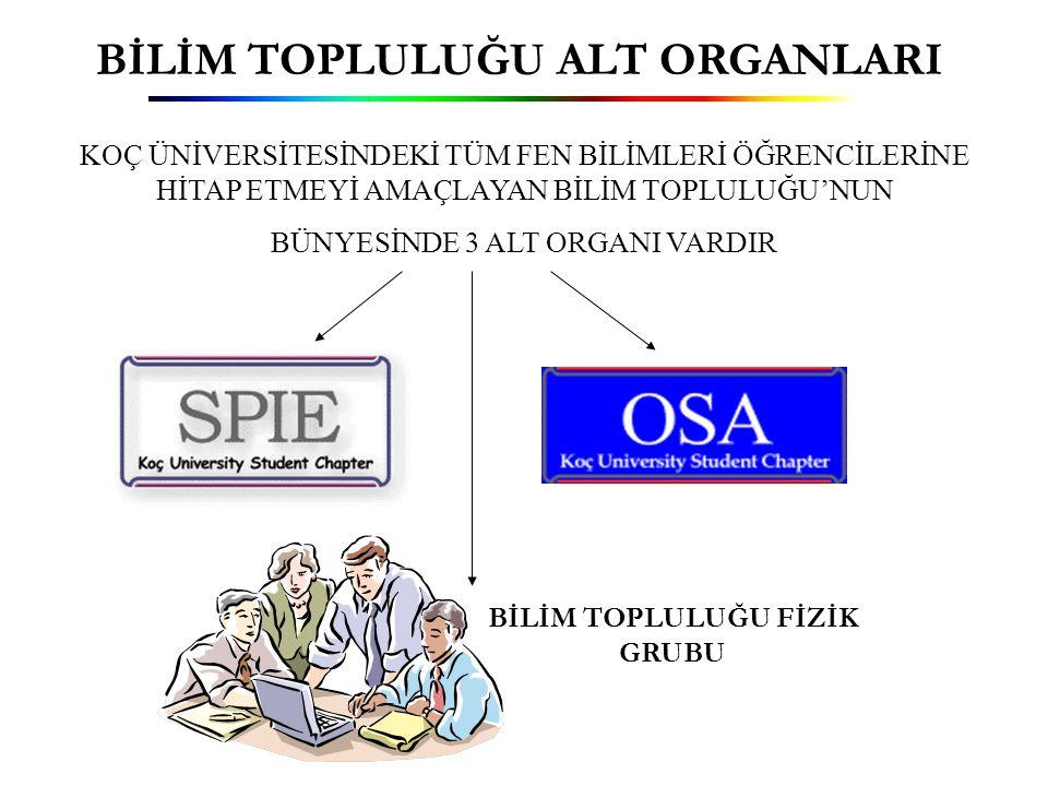Bilim Topluluğu Fizik Grubu  Grup 2002 Mayıs ayında, Koç Üniversitesi fizik bölümü öğrencileri tarafından kurulup, bilim topluluğu altında çalışmalara başlamıştır.