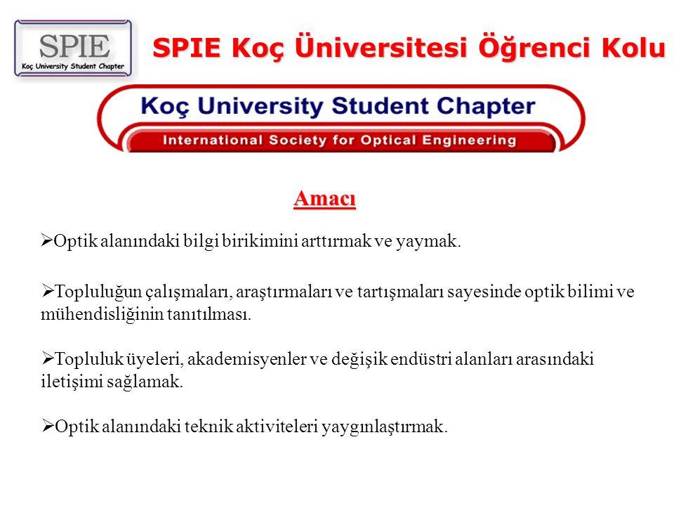 SPIE Koç Üniversitesi Öğrenci Kolu  Optik alanındaki bilgi birikimini arttırmak ve yaymak.  Topluluğun çalışmaları, araştırmaları ve tartışmaları sa