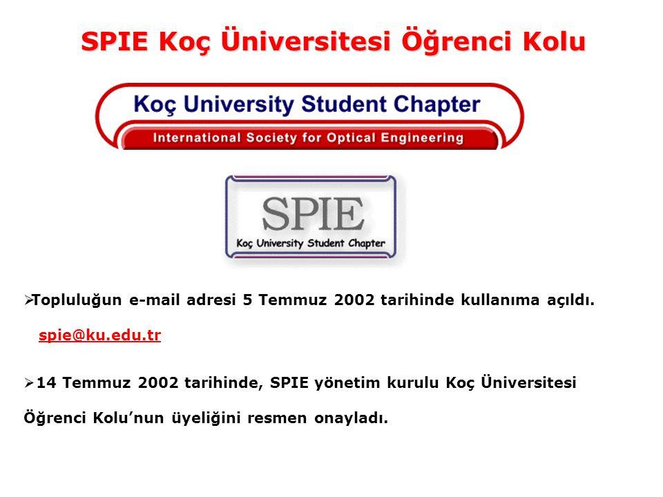 SPIE Koç Üniversitesi Öğrenci Kolu  Topluluğun e-mail adresi 5 Temmuz 2002 tarihinde kullanıma açıldı. spie@ku.edu.tr  14 Temmuz 2002 tarihinde, SPI