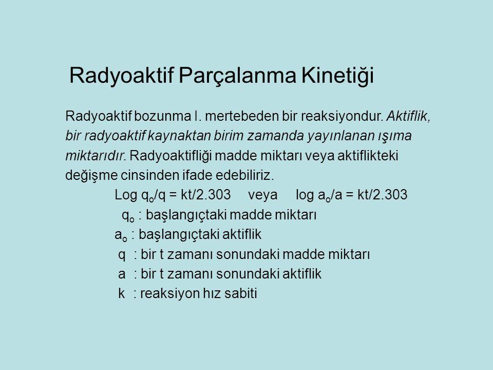Radyoaktif bozunma I. mertebeden bir reaksiyondur. Aktiflik, bir radyoaktif kaynaktan birim zamanda yayınlanan ışıma miktarıdır. Radyoaktifliği madde