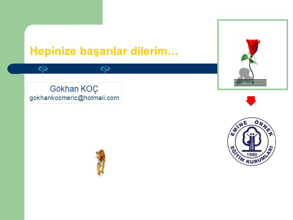 Hepinize başarılar dilerim… Gökhan KOÇ gokhankocmeric@hotmail.com