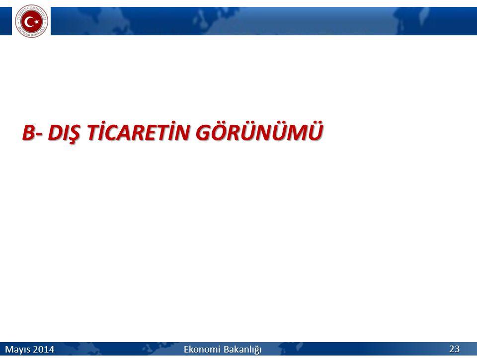 B- DIŞ TİCARETİN GÖRÜNÜMÜ 23 Mayıs 2014 Ekonomi Bakanlığı