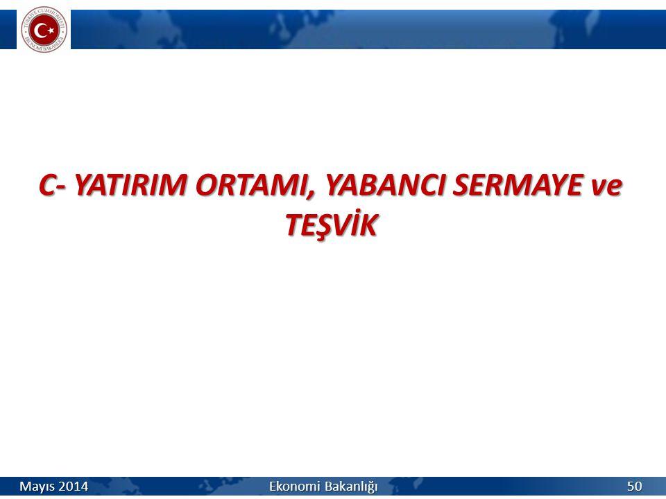 C- YATIRIM ORTAMI, YABANCI SERMAYE ve TEŞVİK 50 Mayıs 2014 Ekonomi Bakanlığı