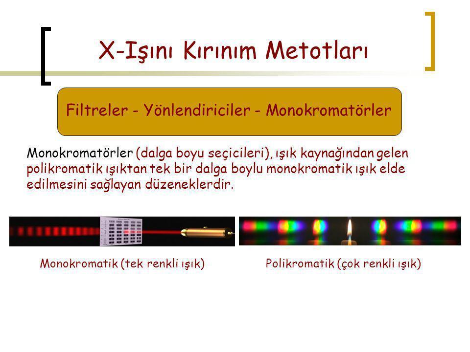 Monokromatik (tek renkli ışık)Polikromatik (çok renkli ışık) X-Işını Kırınım Metotları Filtreler - Yönlendiriciler - Monokromatörler Monokromatörler (