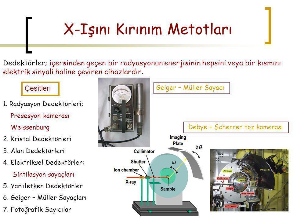 X-Işını Kırınım Metotları Dedektörler; içersinden geçen bir radyasyonun enerjisinin hepsini veya bir kısmını elektrik sinyali haline çeviren cihazlard