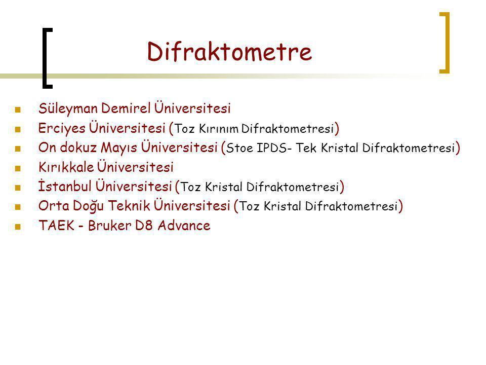 Difraktometre  Süleyman Demirel Üniversitesi  Erciyes Üniversitesi ( Toz Kırınım Difraktometresi )  On dokuz Mayıs Üniversitesi ( Stoe IPDS- Tek Kr