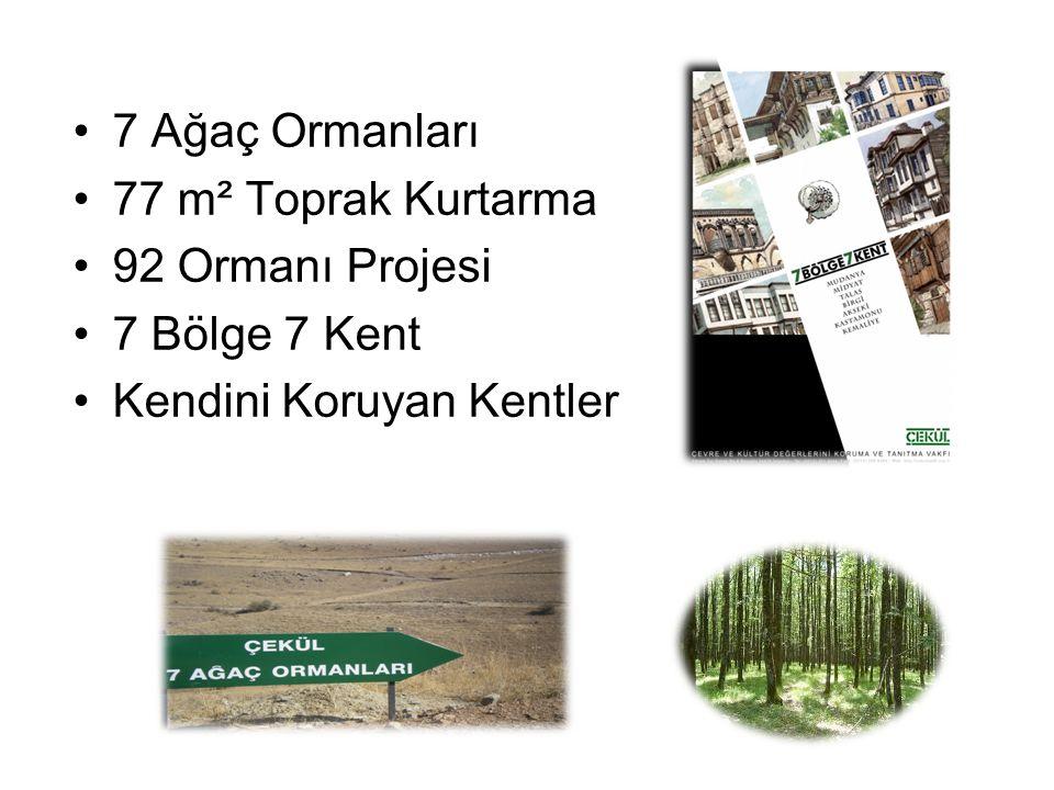 •7 Ağaç Ormanları •77 m² Toprak Kurtarma •92 Ormanı Projesi •7 Bölge 7 Kent •Kendini Koruyan Kentler