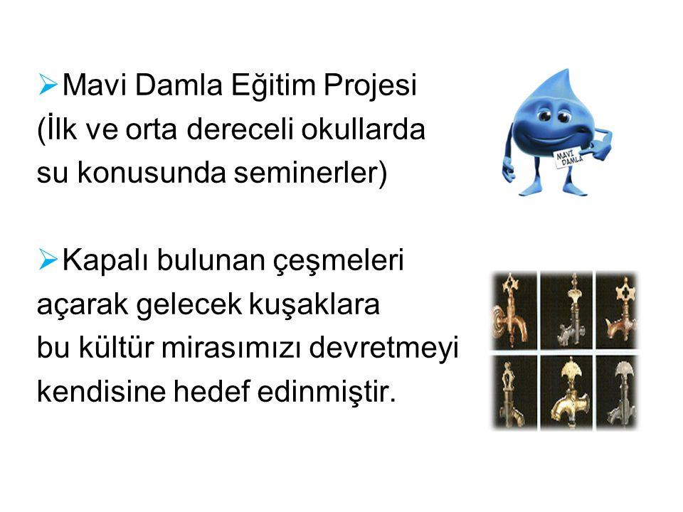  Mavi Damla Eğitim Projesi (İlk ve orta dereceli okullarda su konusunda seminerler)  Kapalı bulunan çeşmeleri açarak gelecek kuşaklara bu kültür mir