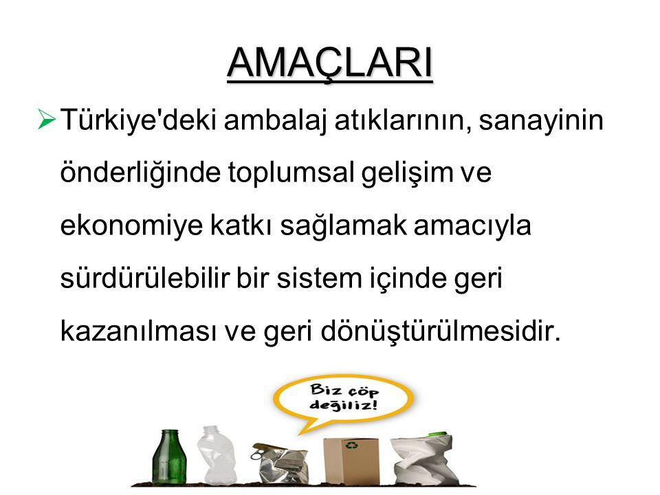 AMAÇLARI  Türkiye'deki ambalaj atıklarının, sanayinin önderliğinde toplumsal gelişim ve ekonomiye katkı sağlamak amacıyla sürdürülebilir bir sistem i