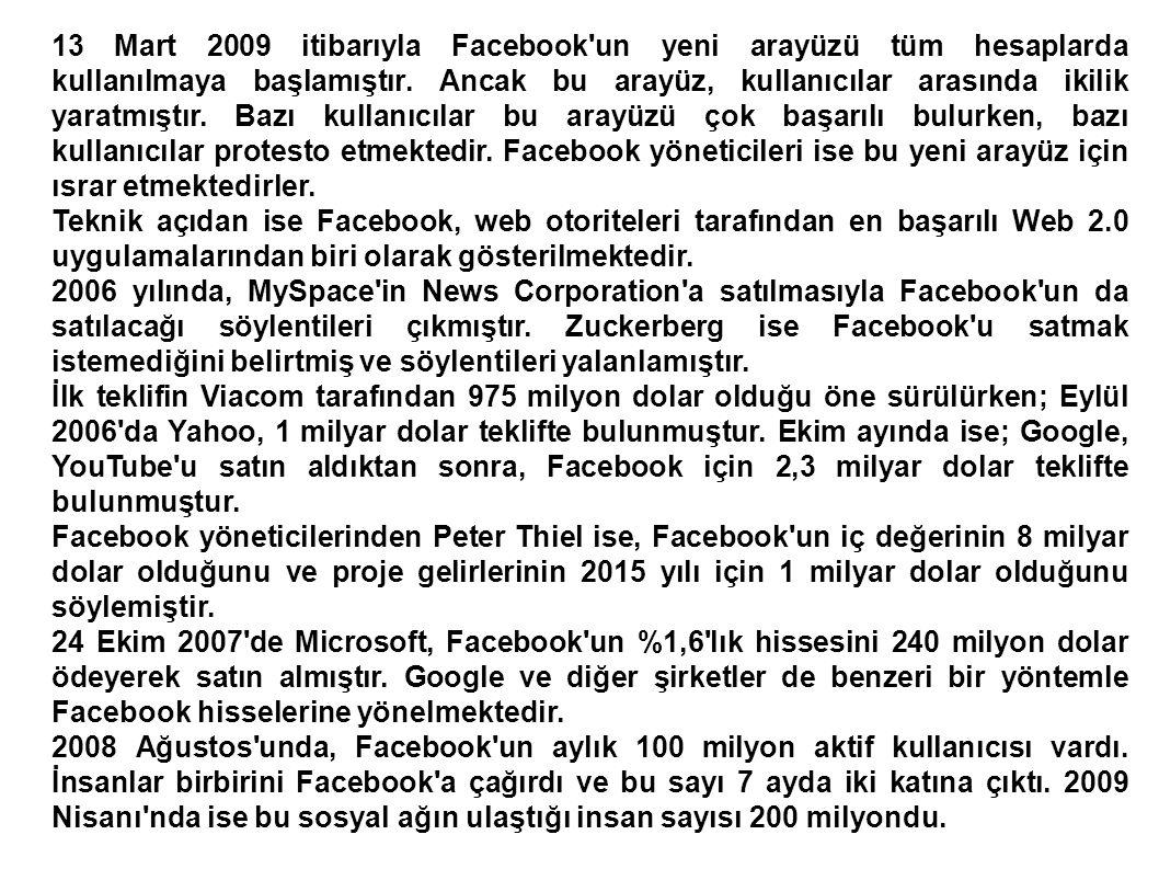 2009 Temmuz unda ise dört aydan kısa bir sürede Facebook kullanıcı sayısı 50 milyon daha artarak 250 milyona ulaşmıştır.