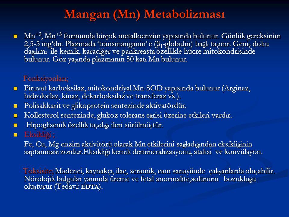 Mangan (Mn) Metabolizması  Mn +2, Mn +3 formunda birçok metalloenzim yapısında bulunur. Günlük gereksinim 2,5-5 mg'dır. Plazmada 'transmanganin' e (β