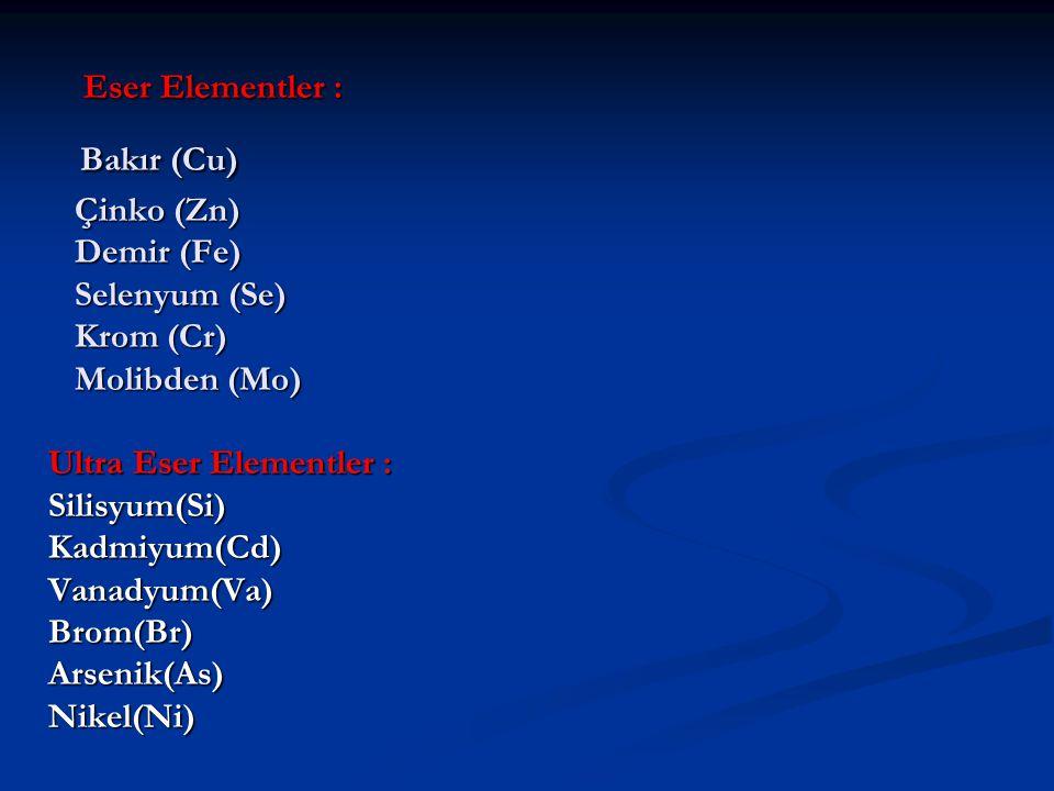 Eser Elementler : Bakır (Cu) Çinko (Zn) Demir (Fe) Selenyum (Se) Krom (Cr) Molibden (Mo) Ultra Eser Elementler : Silisyum(Si) Kadmiyum(Cd) Vanadyum(Va