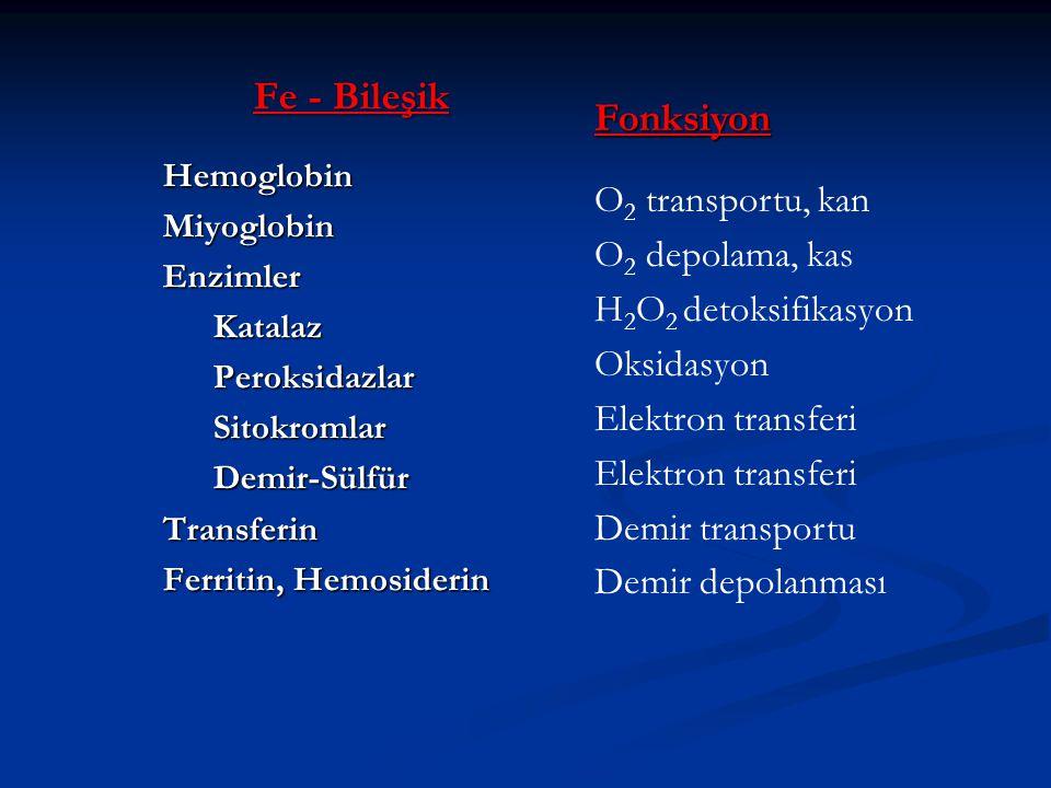 Fe - Bileşik HemoglobinMiyoglobinEnzimlerKatalazPeroksidazlarSitokromlarDemir-SülfürTransferin Ferritin, Hemosiderin Fonksiyon O 2 transportu, kan O 2 depolama, kas H 2 O 2 detoksifikasyon Oksidasyon Elektron transferi Demir transportu Demir depolanması