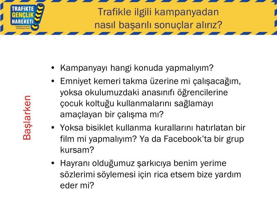 Trafikle ilgili kampanyadan nasıl başarılı sonuçlar alırız? •Kampanyayı hangi konuda yapmalıyım? •Emniyet kemeri takma üzerine mi çalışacağım, yoksa o