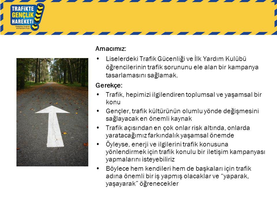 Amacımız: •Liselerdeki Trafik Gücenliği ve İlk Yardım Kulübü öğrencilerinin trafik sorununu ele alan bir kampanya tasarlamasını sağlamak. Gerekçe: •Tr