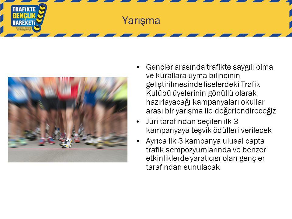 Yarışma •Gençler arasında trafikte saygılı olma ve kurallara uyma bilincinin geliştirilmesinde liselerdeki Trafik Kulübü üyelerinin gönüllü olarak haz