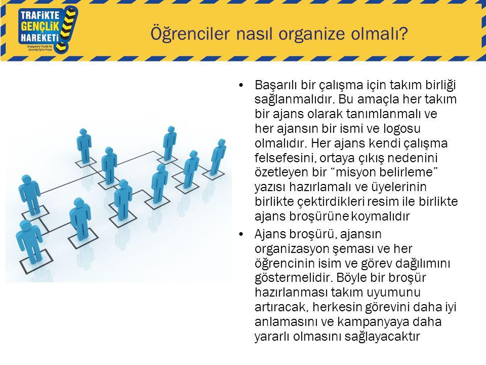 Öğrenciler nasıl organize olmalı? •Başarılı bir çalışma için takım birliği sağlanmalıdır. Bu amaçla her takım bir ajans olarak tanımlanmalı ve her aja