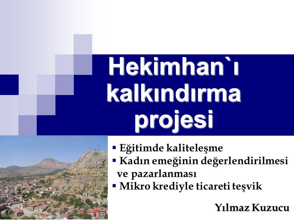 Hekimhan`ı kalkındırma projesi Yılmaz Kuzucu  Eğitimde kaliteleşme  Kadın emeğinin değerlendirilmesi ve pazarlanması  Mikro krediyle ticareti teşvik