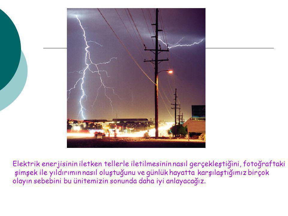 Elektrik enerjisinin iletken tellerle iletilmesinin nasıl gerçekleştiğini, fotoğraftaki şimşek ile yıldırımın nasıl oluştuğunu ve günlük hayatta karşı