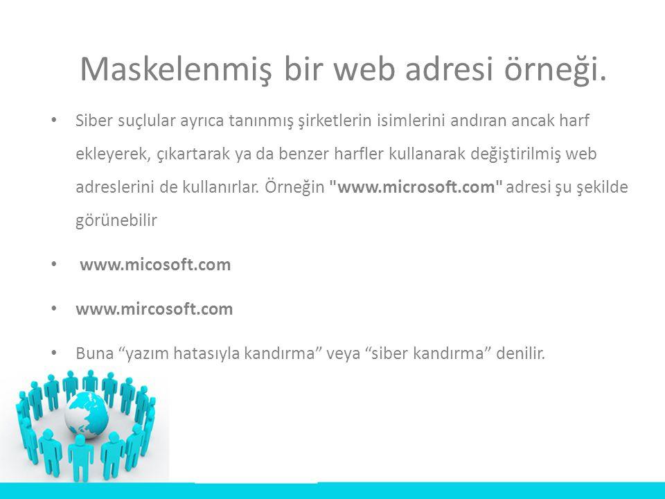Maskelenmiş bir web adresi örneği. • Siber suçlular ayrıca tanınmış şirketlerin isimlerini andıran ancak harf ekleyerek, çıkartarak ya da benzer harfl