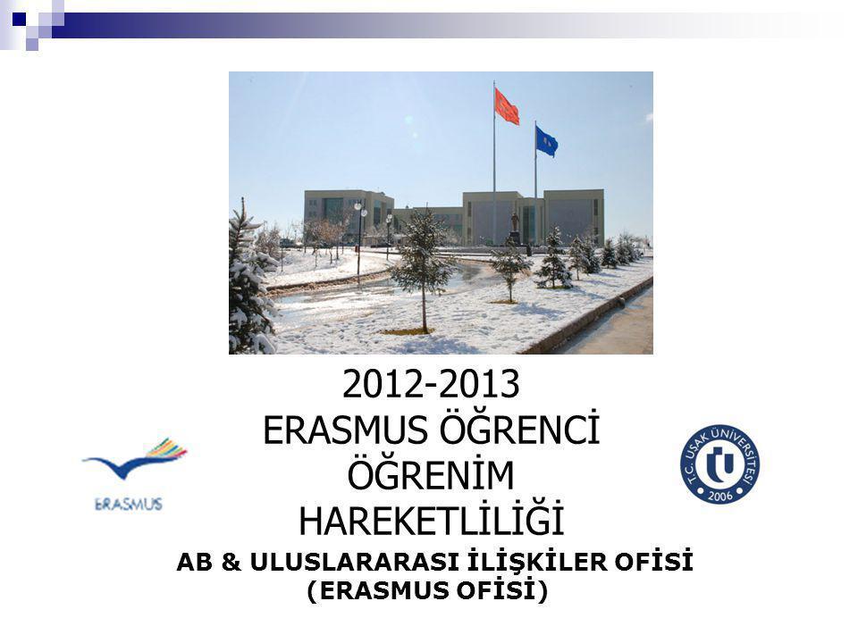 AB & ULUSLARARASI İLİŞKİLER OFİSİ (ERASMUS OFİSİ) 2012-2013 ERASMUS ÖĞRENCİ ÖĞRENİM HAREKETLİLİĞİ