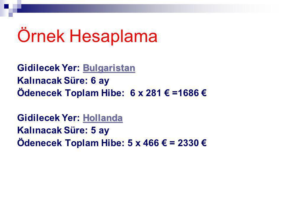 Örnek Hesaplama Bulgaristan Bulgaristan Gidilecek Yer: BulgaristanBulgaristan Kalınacak Süre: 6 ay Ödenecek Toplam Hibe: 6 x 281 € =1686 € Hollanda Ho