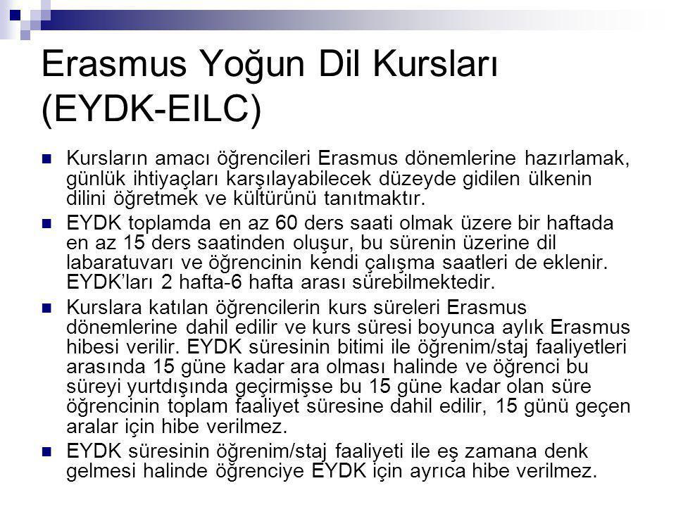 Erasmus Yoğun Dil Kursları (EYDK-EILC)  Kursların amacı öğrencileri Erasmus dönemlerine hazırlamak, günlük ihtiyaçları karşılayabilecek düzeyde gidil