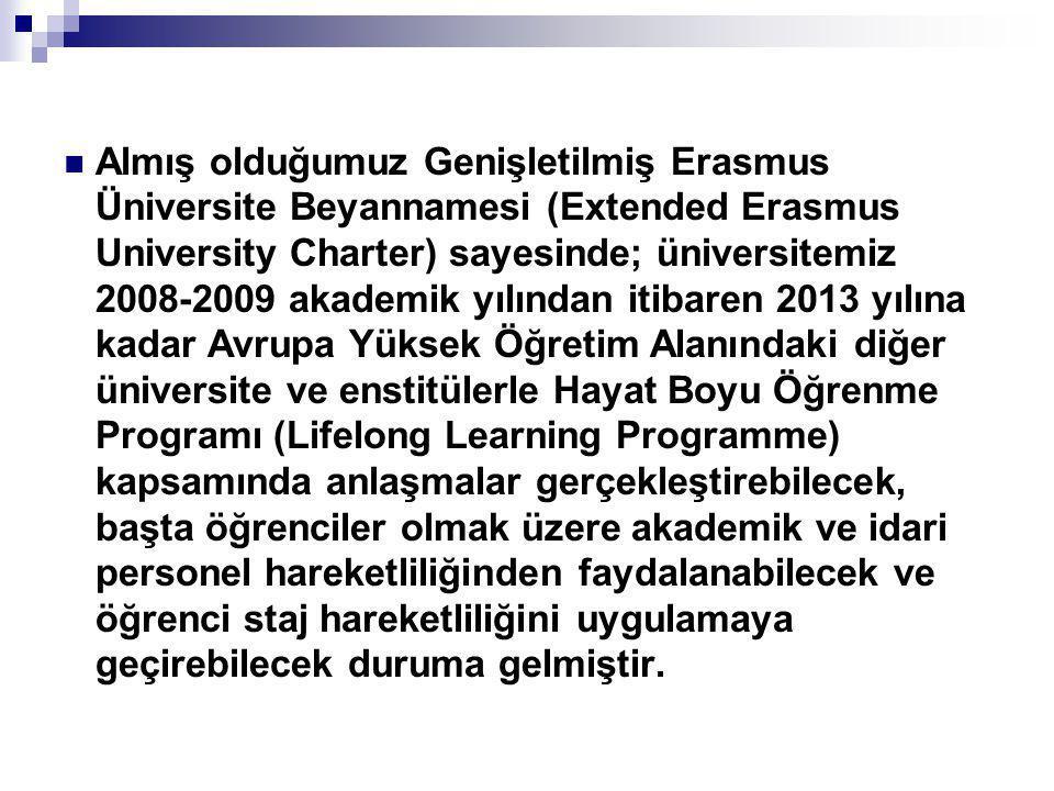 Almış olduğumuz Genişletilmiş Erasmus Üniversite Beyannamesi (Extended Erasmus University Charter) sayesinde; üniversitemiz 2008-2009 akademik yılın