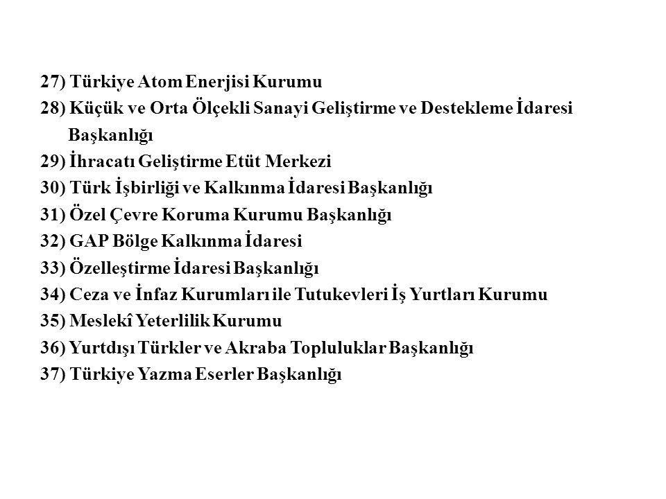 27) Türkiye Atom Enerjisi Kurumu 28) Küçük ve Orta Ölçekli Sanayi Geliştirme ve Destekleme İdaresi Başkanlığı 29) İhracatı Geliştirme Etüt Merkezi 30) Türk İşbirliği ve Kalkınma İdaresi Başkanlığı 31) Özel Çevre Koruma Kurumu Başkanlığı 32) GAP Bölge Kalkınma İdaresi 33) Özelleştirme İdaresi Başkanlığı 34) Ceza ve İnfaz Kurumları ile Tutukevleri İş Yurtları Kurumu 35) Meslekî Yeterlilik Kurumu 36) Yurtdışı Türkler ve Akraba Topluluklar Başkanlığı 37) Türkiye Yazma Eserler Başkanlığı