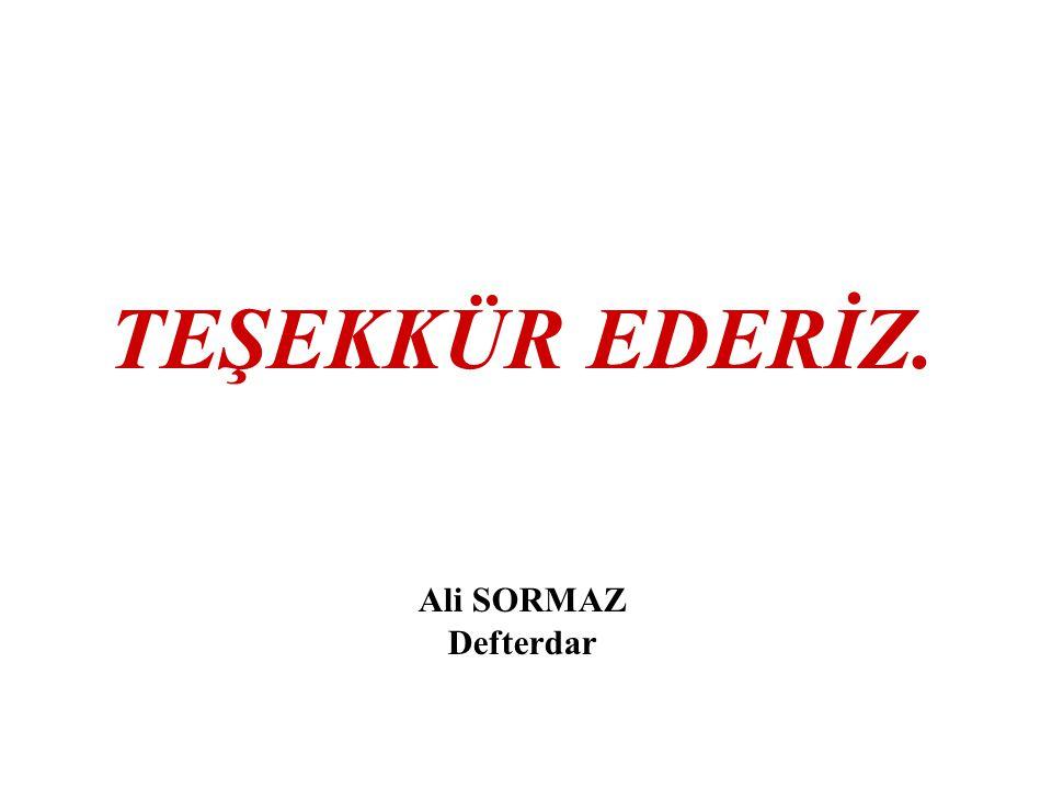 TEŞEKKÜR EDERİZ. Ali SORMAZ Defterdar