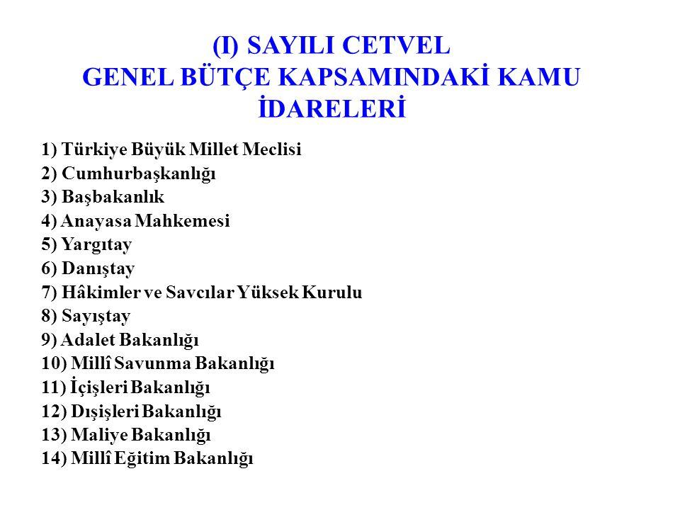 (I) SAYILI CETVEL GENEL BÜTÇE KAPSAMINDAKİ KAMU İDARELERİ 1) Türkiye Büyük Millet Meclisi 2) Cumhurbaşkanlığı 3) Başbakanlık 4) Anayasa Mahkemesi 5) Yargıtay 6) Danıştay 7) Hâkimler ve Savcılar Yüksek Kurulu 8) Sayıştay 9) Adalet Bakanlığı 10) Millî Savunma Bakanlığı 11) İçişleri Bakanlığı 12) Dışişleri Bakanlığı 13) Maliye Bakanlığı 14) Millî Eğitim Bakanlığı