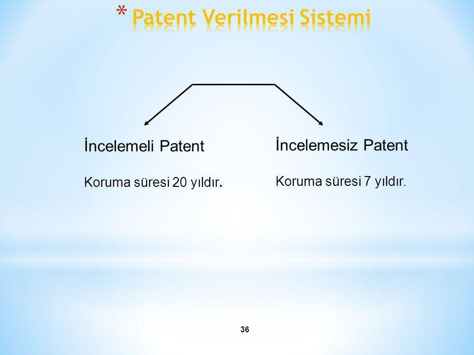 36 İncelemeli Patent Koruma süresi 20 yıldır. İncelemesiz Patent Koruma süresi 7 yıldır.