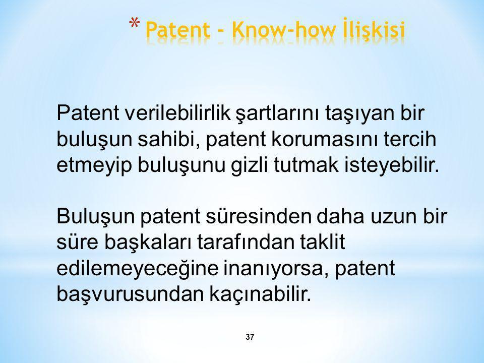 37 Patent verilebilirlik şartlarını taşıyan bir buluşun sahibi, patent korumasını tercih etmeyip buluşunu gizli tutmak isteyebilir. Buluşun patent sür