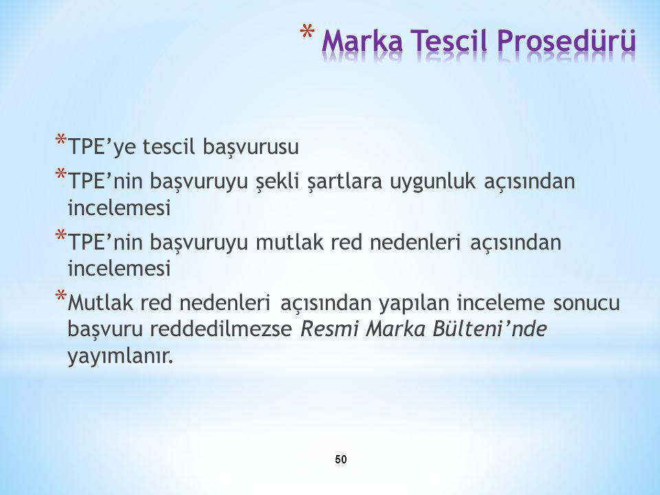 * TPE'ye tescil başvurusu * TPE'nin başvuruyu şekli şartlara uygunluk açısından incelemesi * TPE'nin başvuruyu mutlak red nedenleri açısından inceleme