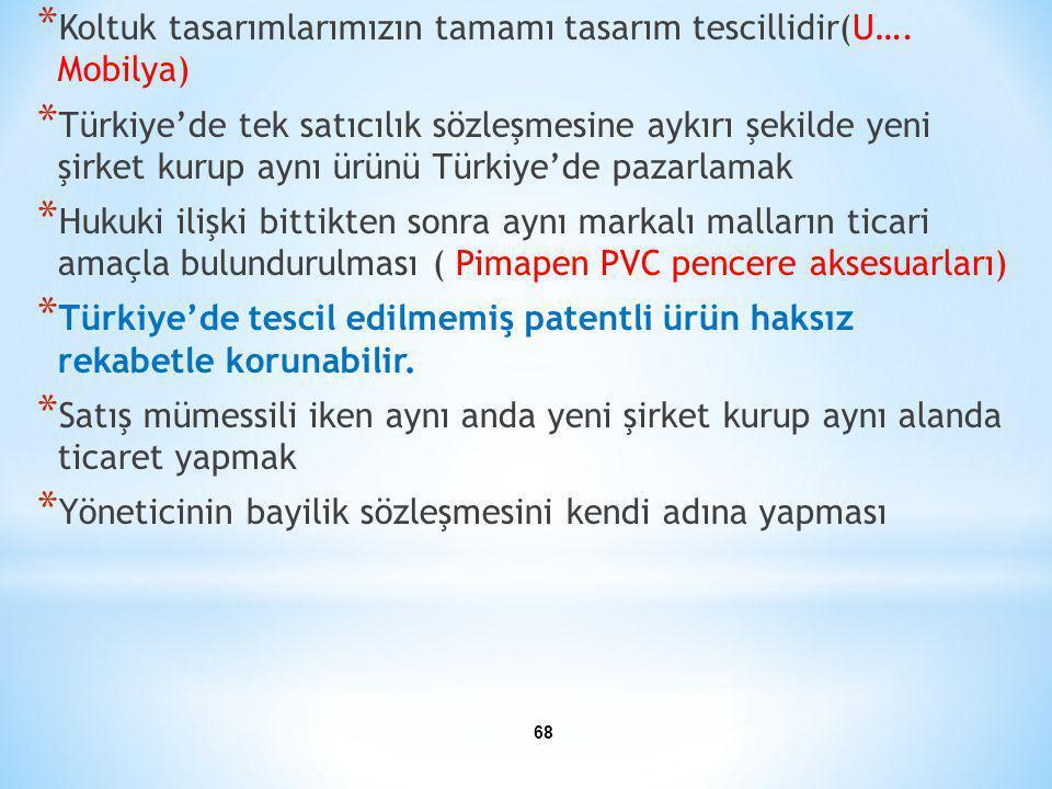 * Koltuk tasarımlarımızın tamamı tasarım tescillidir(U…. Mobilya) * Türkiye'de tek satıcılık sözleşmesine aykırı şekilde yeni şirket kurup aynı ürünü
