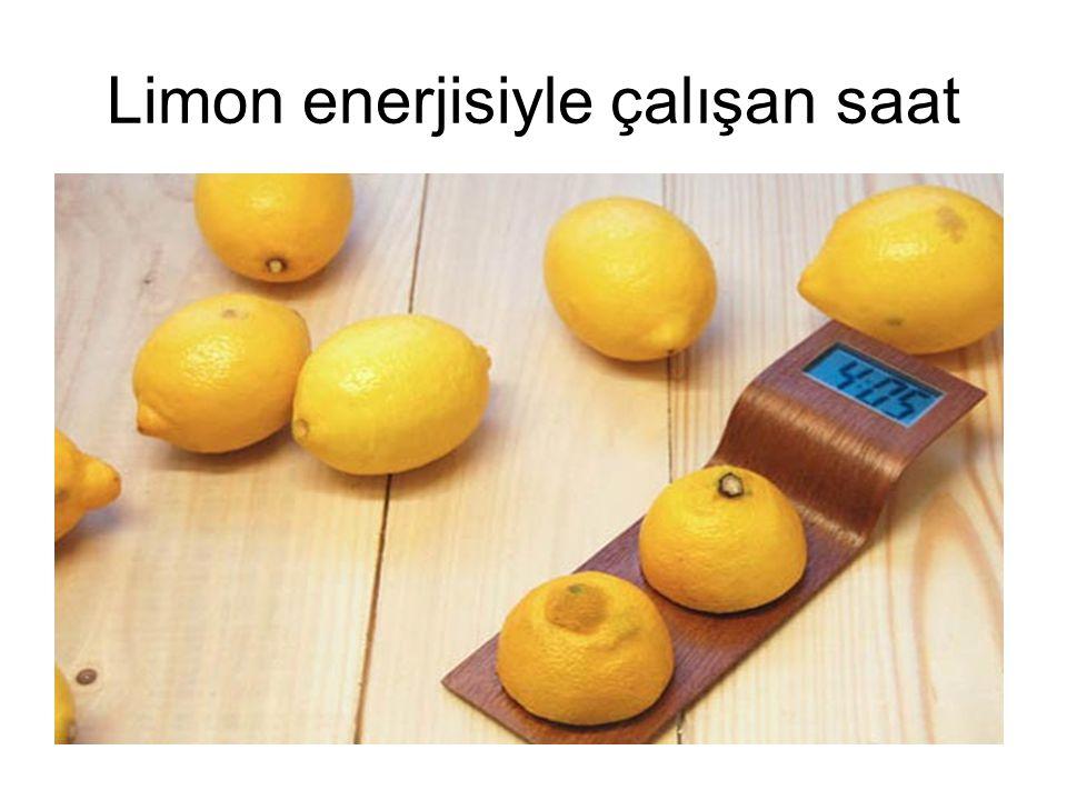 Limon enerjisiyle çalışan saat